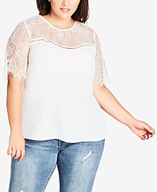 City Chic Trendy Plus Size Mirage Lace-Trimmed Top