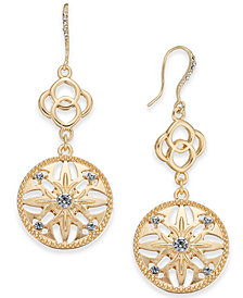 Charter Club Gold-Tone Crystal Double Drop Earrings, Created for Macy's