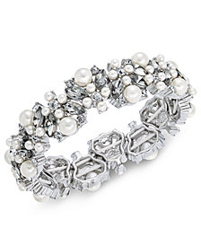 Charter Club Silver-Tone Imitation Pearl, Stone & Crystal Stretch Bracelet, Created for Macy's