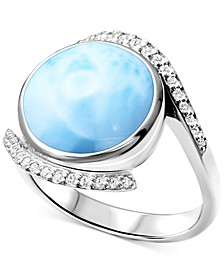 Larimar & White Sapphire (1/6 ct. t.w.) Ring in Sterling Silver