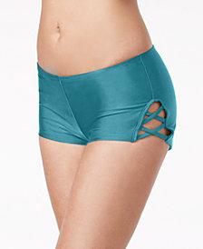 Hula Honey Juniors' Strappy Swim Boy Shorts, Created for Macy's