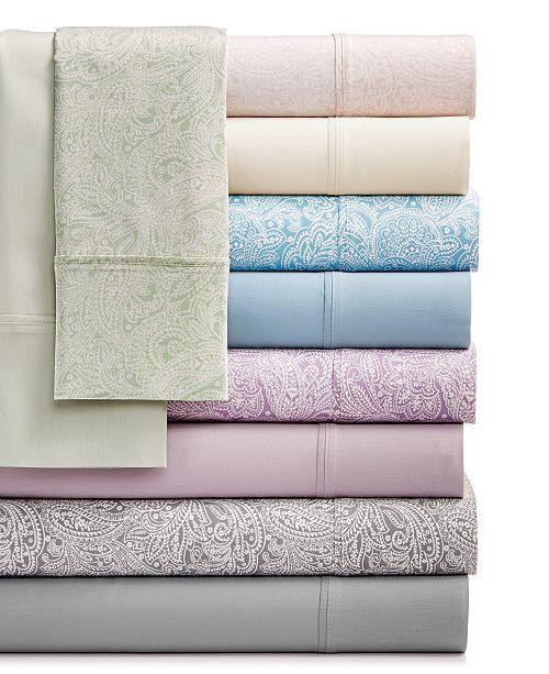 Sunham Bari 4-Pc. Solid and Printed Sheet Sets, 350 Thread Count Cotton Blend