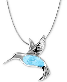 "Larimar Hummingbird 21"" Necklace in Sterling Silver"