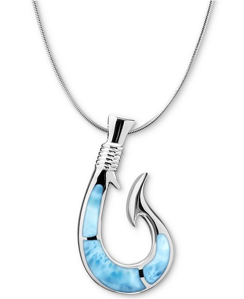 "Marahlago Larimar Fish Hook 21"" Necklace in Sterling Silver"