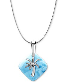 "Larimar Palm Tree 21"" Pendant Necklace in Sterling Silver"