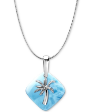 """Larimar Palm Tree 21"""" Pendant Necklace in Sterling Silver"""