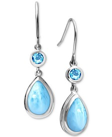 Marahlago Larimar and Blue Topaz (3/4 ct. t.w.) Drop Earrings in Sterling Silver