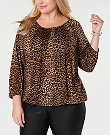 Plus Size Leopard Print Peasant Top