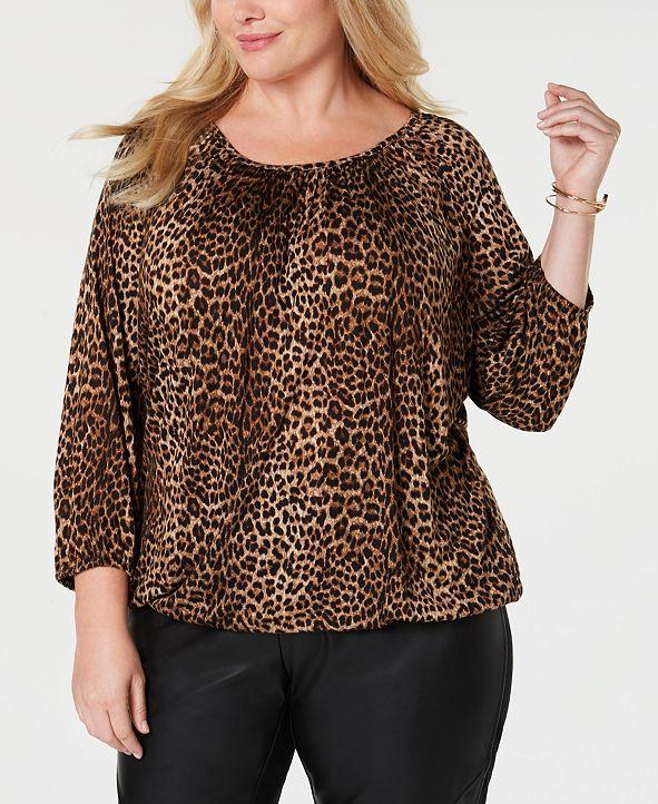 Michael Kors Plus Size Leopard Print Peasant Top