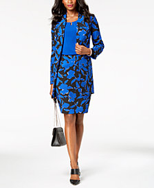 Kasper Floral-Print Topper Jacket, Shell & Pencil Skirt