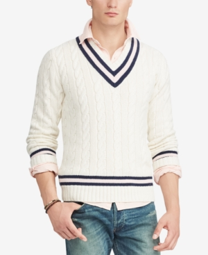 Men's Vintage Sweaters – 1920s to 1960s Retro Jumpers Polo Ralph Lauren Mens Pink Pony Cricket Sweater $298.00 AT vintagedancer.com