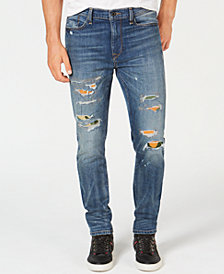 Sean John Men's Slim-Straight Fit Stretch Ripped Jeans with Camo Repair Patches