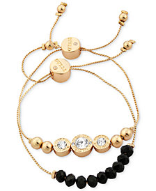 GUESS Gold-Tone 2-Pc. Set Crystal & Bead Slider Bracelets