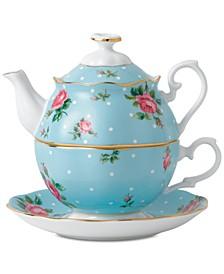 Polka Blue Tea For One Set