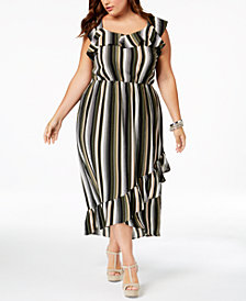 Monteau Trendy Plus Size Ruffled High-Low Dress