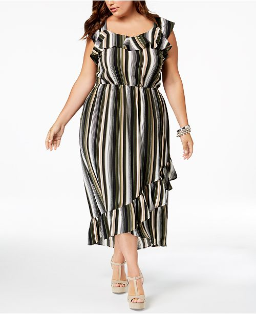 Trendy Plus Size Ruffled High-Low Dress