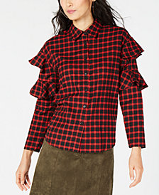 Sage The Label Plaid Ruffle-Sleeve Shirt