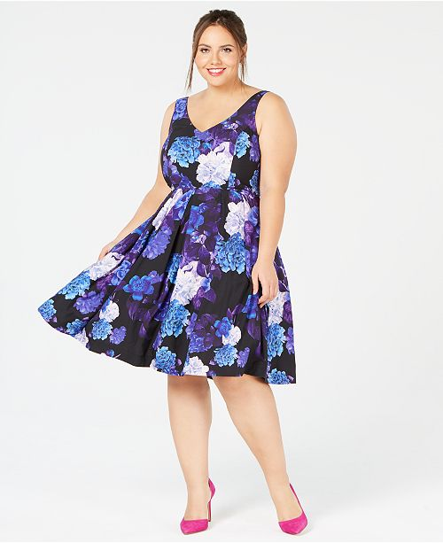 8276f07795 City Chic Plus Size Floral-Print Flare Dress   Reviews - Dresses ...