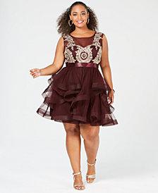 City Studios Trendy Plus Size Embellished Ruffle-Skirt Fit & Flare Dress
