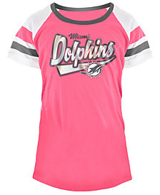5th & Ocean Miami Dolphins Pink Foil T-Shirt, Girls (4-16)