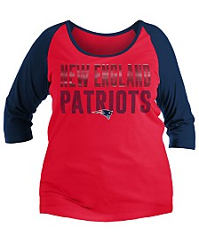 5th & Ocean Women's New England Patriots Plus Size Colorblock Raglan T-Shirt