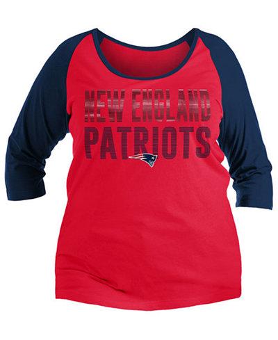 5th & Ocean Women's New England Patriots Plus Size Colorblock Raglan T-Shirt