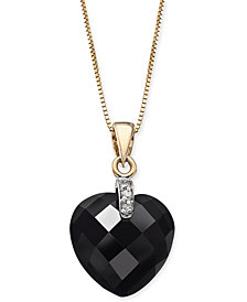 "Onyx (12mm) & Diamond Accent Heart 16"" Pendant Necklace in 14k Gold"