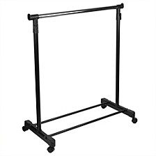 Single Rail Adjustable Rolling Garment and Wardrobe Organizing Rack, Black