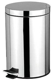 12 Liter Polished Stainless Steel Round Waste Bin, Silver-Tone