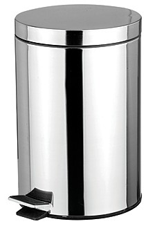 Home Basics 12 Liter Polished Stainless Steel Round Waste Bin, Silver-Tone