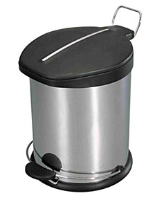 Home Basics 12 Liter Brushed Stainless Steel with Plastic Top Waste Bin