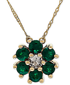 """Sapphire (9/10 ct. t.w.) & White Topaz (1/6 ct. t.w.) 18"""" Pendant Necklace in 14k Yellow Gold (Also Available in Emerald)"""