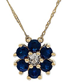 "Sapphire (9/10 ct. t.w.) & White Topaz (1/6 ct. t.w.) 18"" Pendant Necklace in 14k Yellow Gold (Also Available in Emerald)"