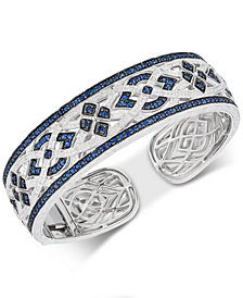Sapphire (3-1/8 ct. t.w.) & Diamond (1/10 ct. t.w.) Bangle Bracelet in Sterling Silver