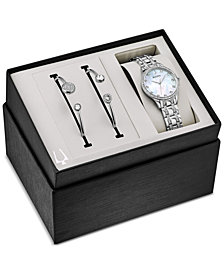 Bulova Women's Stainless Steel Bracelet Watch 32mm Gift Set