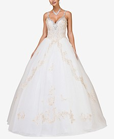 Juniors' Bejeweled Lace Gown