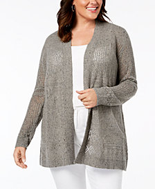 Belle by Belldini Plus Size Pointelle-Stitch Cardigan