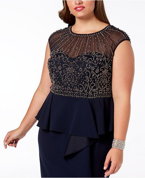 9ae084cc564 XSCAPE Plus Size Beaded Ruffled Gown   Reviews - Dresses - Women ...