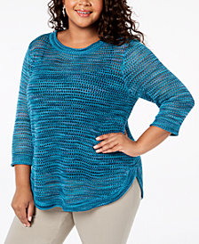 John Paul Richard Plus Size Pointelle Sweater