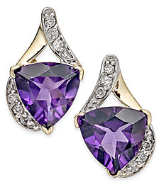 Amethyst (3-1/2 ct. t.w.) & Diamond (1/8 ct. t.w.) Stud Earrings in 14k Gold