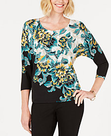 JM Collection Petite Embellished Dolman-Sleeve Printed Top, Created for Macy's