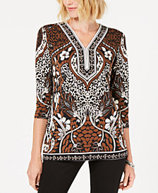 JM Collection Studded 3/4-Sleeve Top, Created for Macy's
