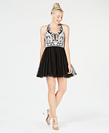 Blondie Nites Juniors' Embroidered Cutout Fit & Flare Dress