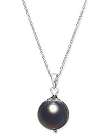"Cultured Baroque Black Tahitian Pearl (11mm) 18"" Pendant Necklace in Sterling Silver"