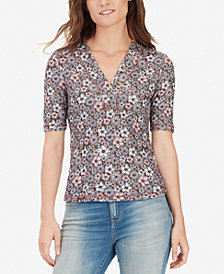 WILLIAM RAST Erica Printed Short-Sleeve Henley