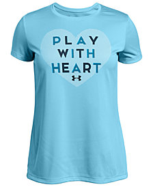 Under Armour Big Girls Heart-Print T-Shirt