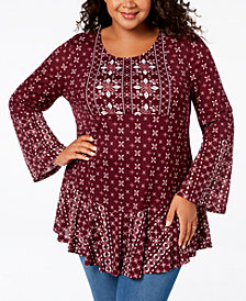 Style & Co Plus Size Mixed-Print Flounce-Hem Top, Created for Macy's