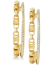 "Michael Kors Women's Mercer Link Double Row Sterling Silver 1-1/5"" Hoop Earrings"