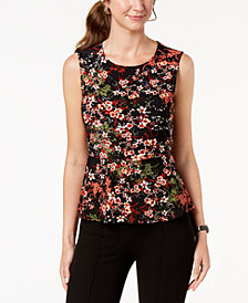 Nine West Printed Peplum Shell