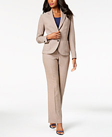 Anne Klein Blazer, Mixed-Media Shell & Flare-Leg Pants, Created for Macy's